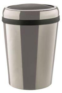 T109796 Swing paper bin Oval stainless steel bin with ABS lid 60 liters