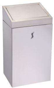 T110521 Gettacarte bagno acciaio inox AISI 201 satinato con coperchio push