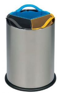 T110560 Stainless steel recycling bin with three polypropylene inner buckets 3x4 liters