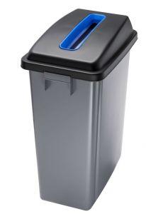 T114205 Waste bin with blue upper opening lid