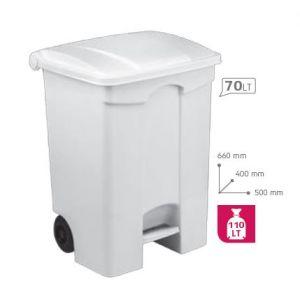 T115570 Mobile plastic pedal bin White 70 liters (multiple 3 pcs)