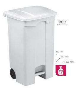 T115090 Mobile plastic pedal bin White 90 liters (multiple 3 pcs)