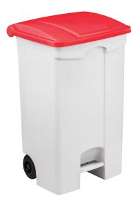 T115097 Mobile plastic pedal bin White 90 liters Red lid (multiple 3 pcs)