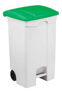 T115098 Contenitore mobile a pedale in plastica bianco coperchio verde 90 litri (multipli 3 pz)