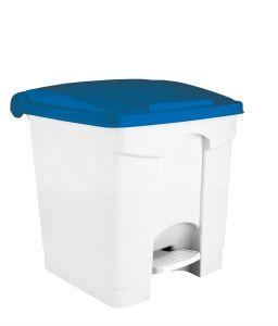 T115355 Pattumiera a pedale in plastica Bianca coperchio Blu 30 litri