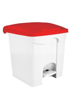 T115357 White Plastic pedal bin Red lid 30 liters
