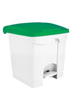 T115358 White Plastic pedal bin Green lid 30 liters