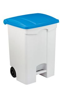 T115575 Mobile plastic pedal bin White 70 liters Blue lid