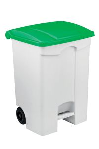 T115578 Mobile plastic pedal bin White 70 liters Green lid