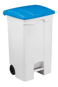 T115595 Mobile plastic pedal bin White 90 liters Blue lid