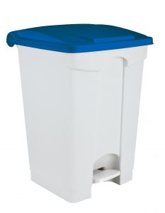 T115705 Pattumiera a pedale in plastica Bianca coperchio Blu 70 litri (confezione da 3 pezzi)
