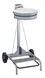 T601043 Grey steel Wheeled pedal operated sack holder
