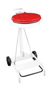 T601047 White steel Wheeled pedal operated sack holder Red lid
