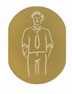 T719931 Man pictogram bathroom Golden aluminium