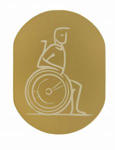 T719934 Wheelchair pictogram bathroom Golden aluminium