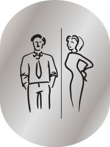 T719956 Man & woman pictogram bathroom Brushed aluminium