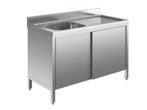 EU01601-12 lavatoio armadio ECO cm 120x60x85h  1 vasca e sg dx - porte scorrevoli