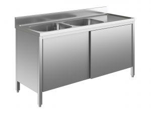 EU01611-14 lavatoio armadio ECO cm 140x60x85h  2 vasche e sg dx - porte scorrevoli