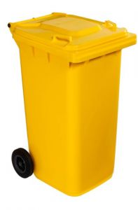 T766621 Yellow Plastic waste container for outdoor on 2 wheels 240 liters