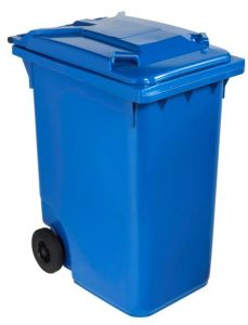 T766632 Blue Plastic waste container for outdoor on 2 wheels 240 liters