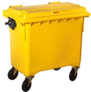 T766641 Yellow Plastic waste container for outdoor on 4 wheels 660 liters