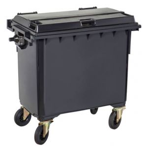 T766650 Grey Plastic waste container for outdoor on 4 wheels 770 liters