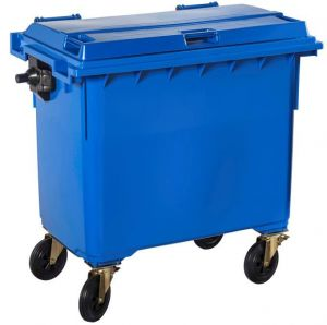 T766652 Blue Plastic waste container for outdoor on 4 wheels 770 liters