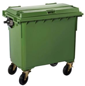T766653 Green Plastic waste container for outdoor on 4 wheels 770 liters