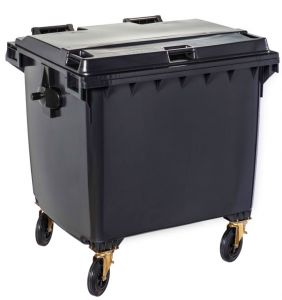 T766660 Grey Plastic waste container for outdoor on 4 wheels 1100 liters