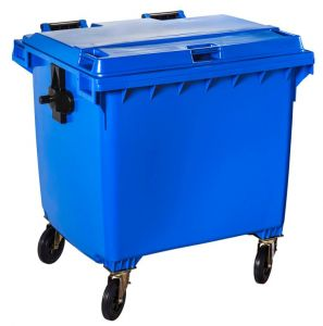 T766662 Blue Plastic waste container for outdoor on 4 wheels 1100 liters