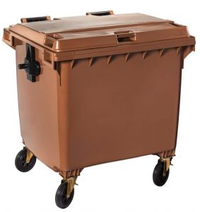 T766664 Brown Plastic waste container for outdoor on 4 wheels 1100 liters