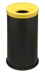 T770016 Fireproof paper bin Black steel with yellow lid 50 liters