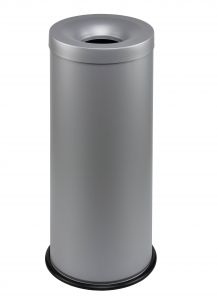 T770032 Grey steel fireproof waste bin 30 liters