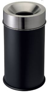 T770052 Fireproof paper bin Black steel body and s.steel lid 90 liters