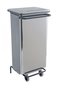 T790644 Brushed Stainless steel Wheeled pedal waste bin 110 liters