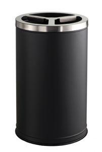 T790830 Gettacarte 3 scomparti metallo nero coperchio inox 3x35 litri