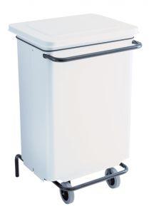 T791130 Contenitore mobile metallo bianco a pedale 70 litri