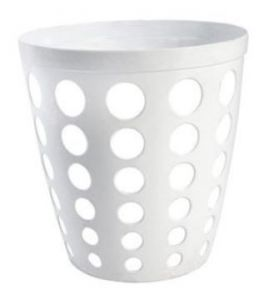 T906400 White Perforated Plastic paper bin 12 liters