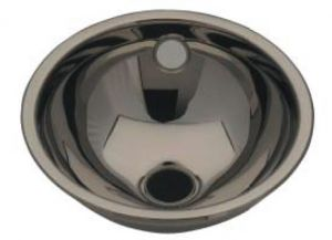 LX1070 Stainless steel spherical washbasin central drain 360X390X150 mm - SATIN -