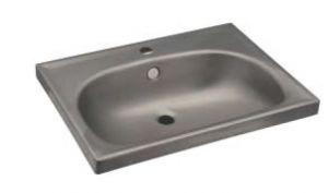 LX1380 Rectangular washbasin for stainless steel shelves 610x463X150 mm -SATINATO-