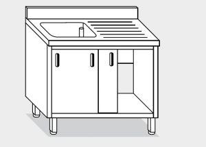 11701.10 Lavatoio armadio g40 cm 100x70x85h 1 vasca e sg dx - porte scorrevoli