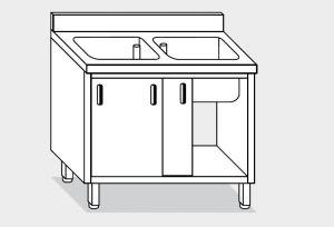 11710.14 Lavatoio armadio g40 cm 140x70x85h 2 vasche - porte scorrevoli