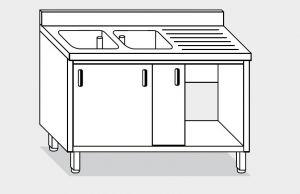 11711.14 Lavatoio armadio g40 cm 140x70x85h 2 vasche e sg dx - porte scorrevoli