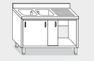 11711.16 Lavatoio armadio g40 cm 160x70x85h 2 vasche e sg dx - porte scorrevoli