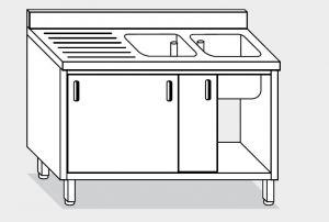 11712.16 Lavatoio armadio g40 cm 160x70x85h 2 vasche e sg sx - porte scorrevoli