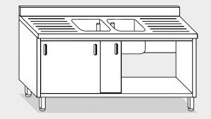 11713.20 Lavatoio armadio g40 cm 200x70x85h 2 vasche e 2 sgocciolatoi - porte scorrevoli