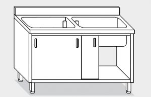 11721.19 Lavapentole armadio g40 cm 190x70x85h 2 vasche - porte scorrevoli