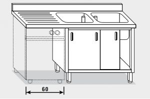 11912.16 Lavatoio per lavast. armadio g40 cm 160x60x85h 2v e sg sx - porte scorrevoli
