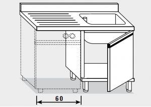 11952.12 Lavatoio per lavast. armadio g40 cm 120x70x85h 1v e sg sx - porta battente