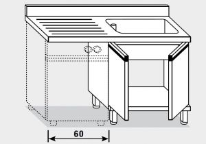 11952.13 Lavatoio per lavast. armadio g40 cm 130x70x85h 1v e sg sx - porte battenti